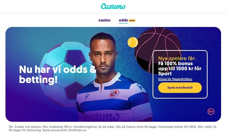 Casumo nu med 1000 kr bonus på sportsbetting