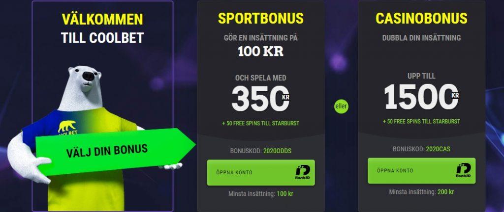 250% Coolbet oddsbonus 2020 - Sätt in 100 kr spela med 350 kr