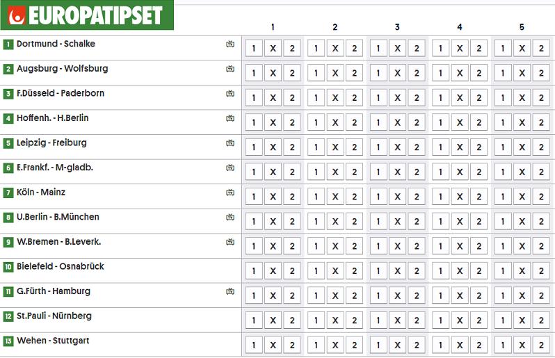 Europatipset vecka 20 hos Svenska Spel med tyska matcher.