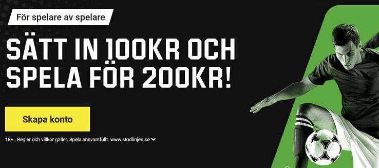 Unibets nya  oddsbonus på 100 kr