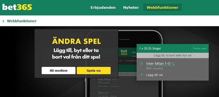 Bet365 ny funktion Ändra Spel