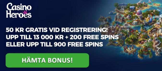 50 kr gratis hos CasinoHeroes 2018