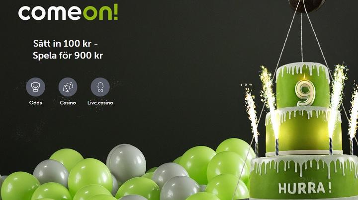 Ny Comeon bonus på 800% upp till 800 kr