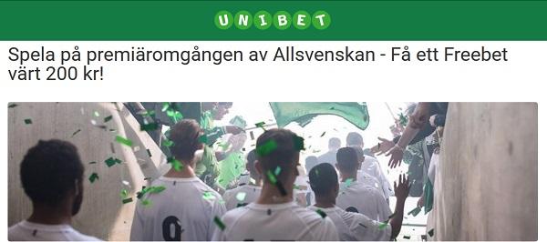 Free bet på Allsvenskan från Unibet