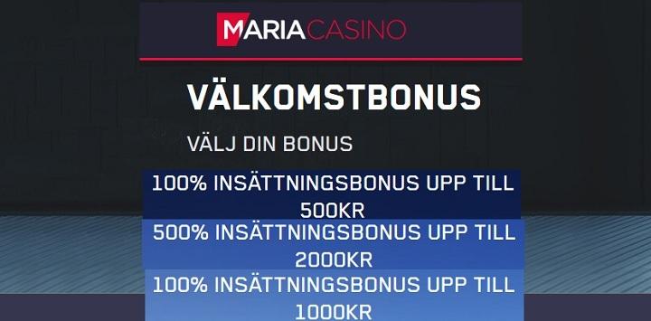 Maria Casinobonus 500 kr utan omsättningskrav