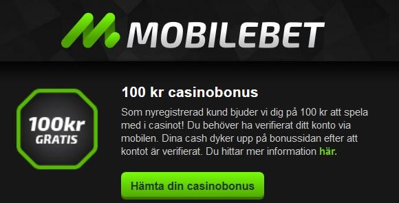 100 kr gratis casino hos Mobilebet