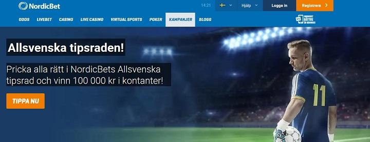 Tippa Allsvenskan hos Nordicbet