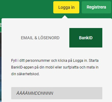 Unibet BankId och mobilt BankID inloggning